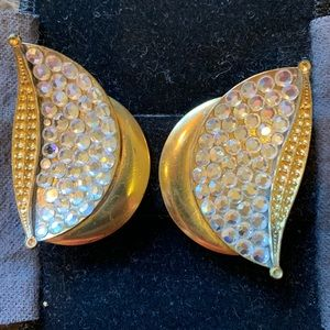 Rhinestoned and Gold Clip On Earrings